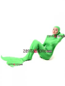 Green Mermaid Spandex Lycra Zentai Suit With Open Face