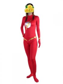 Red And Gold Lycra Spandex Catsuit
