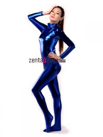 Blue Shiny Metallic Unisex Catsuit