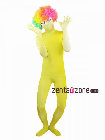 Yellow White Grandual Change Color Spandex Zentai