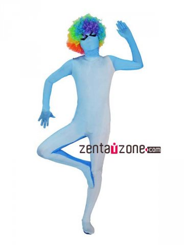 Light Blue Gradual Change Color Spandex Zentai