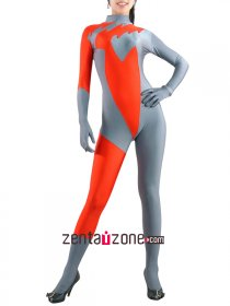 Grey And Orange Spandex Lycra Zentai Suit