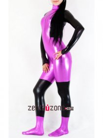 Purple Black Shiny Metallic Catsuit