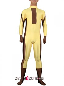 Yellow And Brown Spandex Lycra Catsuit
