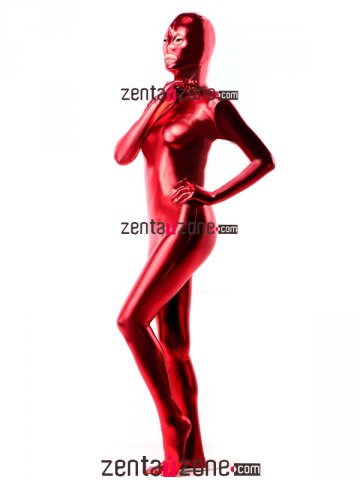 Red Shiny Metallic Zantai Suit With Open Eyes Mouth
