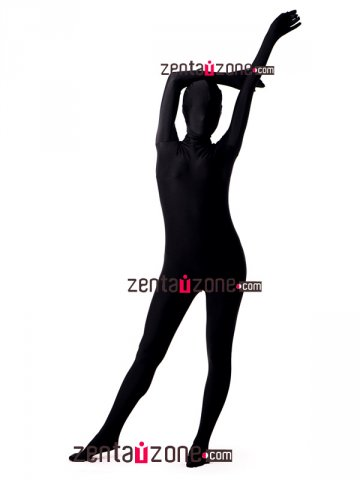 Black Unicolor Spandex Full Body Zentai Suit [20158]