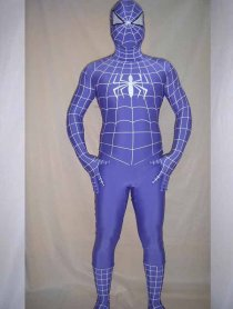 Blue White Stripe Spandex Lycra Spiderman Costume