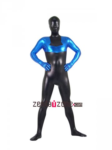 Blue And Black Shiny Metallic Zentai Suit