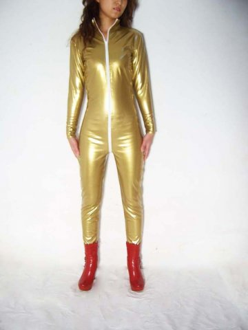 Golden Shiny Metallic Catsuit With Front Zipper