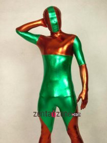 Green And Brown Unisex Shiny Zentai Suit