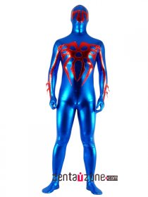 Blue And Red Unisex Shiny Full Body Zentai Suit