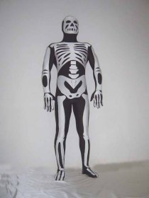 Black Skeleton Shiny Spandex Zentai Suit