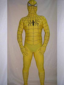 Yellow Black Stripe Spandex Lycra Spiderman Costume
