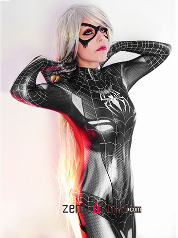Custom Printed Black Cat Symbiote Zentai Costume