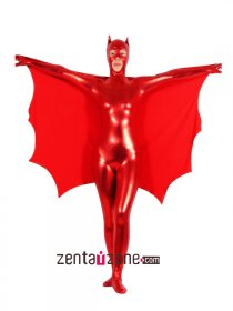 Red Shiny Metallic Bat Catsuit