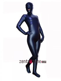 2014 Navy Blue Pu Metallic Full Bodysuit With Open Mouth