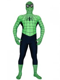 Green Spandex Lycra Zentai Outfit Spiderman Costume