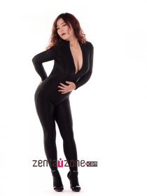 Black Spandex Catsuit With Front Zipper