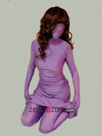 Purple One Piece Lycra Spandex Zentai With Dress And Pant Design
