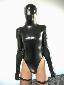 Black Shiny Metallic Leotard Catsuit