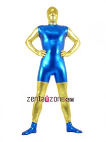 Blue And Gold Unisex Shiny Metallic Zentai Catsuit
