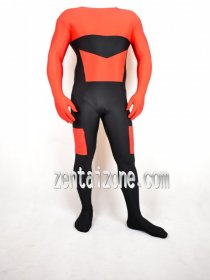 Orange Black Lycra Zentai Without Hood