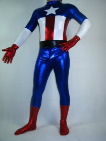 Shiny Metallic America Captain Zentai Suit