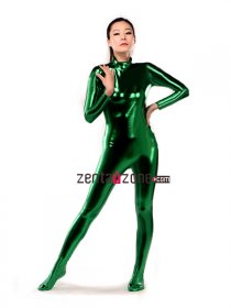 Dark Green Shiny Metallic Catsuit