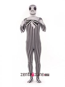 Black And White Skeleton Spandex Print Full Bodysuit