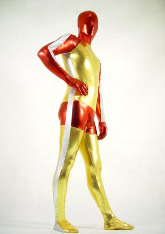 Shiny Metallic Tricolor Full Bodysuit Zentai