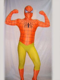 Orange Yellow Spandex Lycra Spiderman Costume