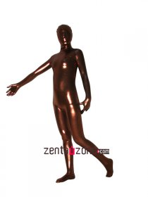 Brown Shiny Metallic Full Body Zentai Suit