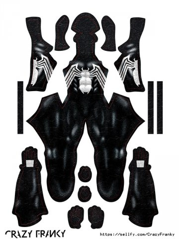 Custom Printed BLACK SYMBIOTE V3 Zentai Costume