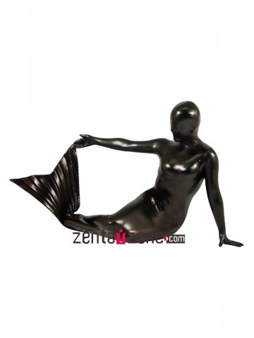 Black Mermaid Shiny Metallic Zentai Suit