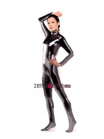 Dark Silver Shiny Metallic Catsuit