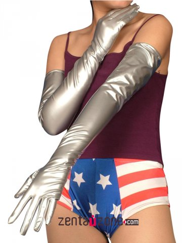 Silver Long PVC Gloves