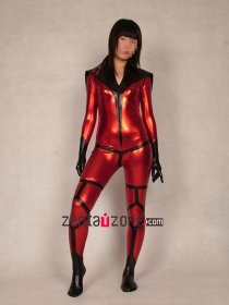 Red And Black Metallic Shiny Catsuit