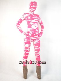 Pink And White Camouflage Spandex Zentai Suit