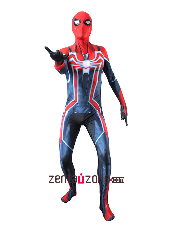 Custom Printed PS4 Spiderman The Velocity Zentai Costume - Click Image to Close