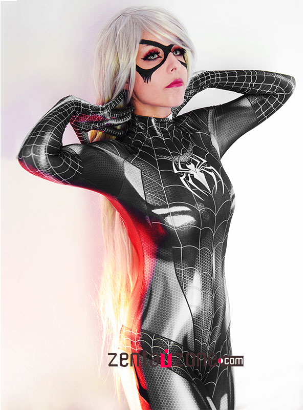 Custom Printed Black Cat Symbiote Zentai Costume - Click Image to Close