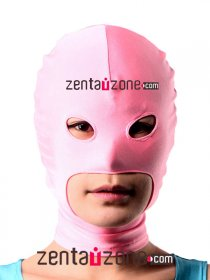 Pink Spandex Lycra Zentai Hood With Open Mouth Eyes