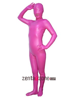 2014 Pink Pu Metallic Zentai Suiti With Open Mouth