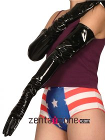 Black Shiny PVC Long Gloves