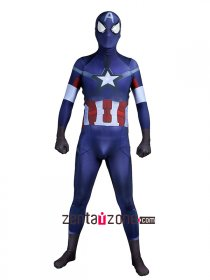New Spandex Captain America Zentai Costume 3D Muscle Shade