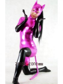Purple Black Shiny Metallic Catsuit With Tail