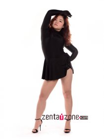 Black Spandex Leotard With Mini Dress