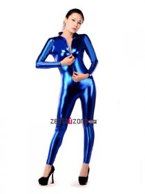 Sexy Blue Shiny Metallic Catsuit Zentai With Front Zipper
