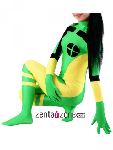 Green and Yellow and Black Lycra Spandex Unisex Zentai Suit