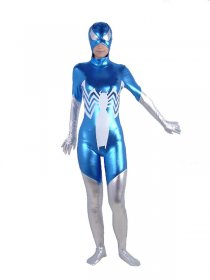 Blue And Silver Spiderman Shiny Zentai Suit