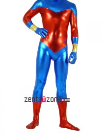 Blue And Red Unisex Shiny Metallic Catsuit